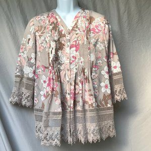 Beautiful COLDWATER CREEK floral & lace blouse- S